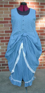 Blue & White Lace Cotton Dress with Bloomers