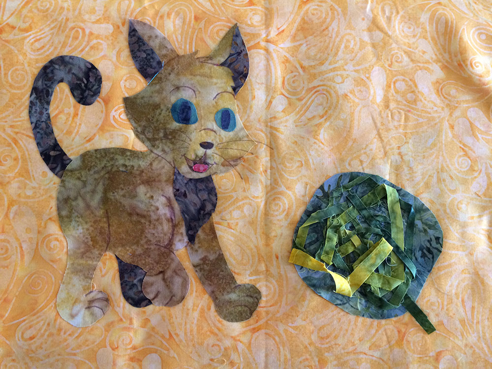 Cat Appliqué Ironed on background