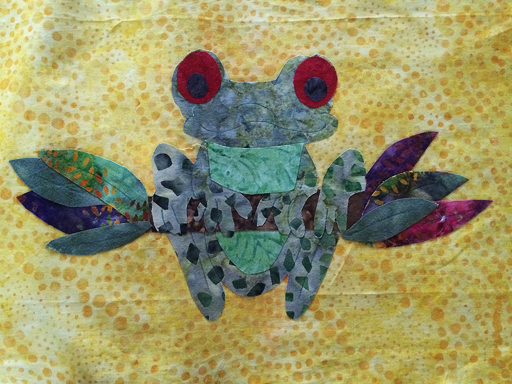 Frog Appliqué Ironed on background