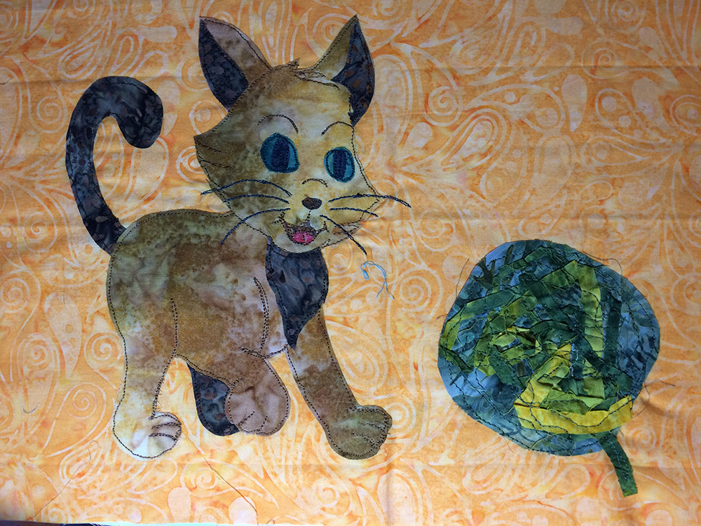 Cat Appliqué Sewed On