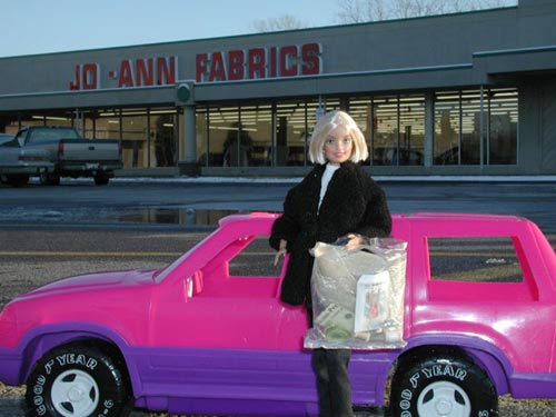 Barbie Outside Jo-Ann Fabrics